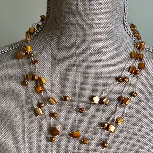 Neiman Marcus Sterling Silver tigers eye necklace
